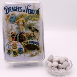 """Léontine sucre glace, Boîte métal """"Affiche"""" 400 g - Dragées Braquier, confiseur chocolatier à Verdun"""