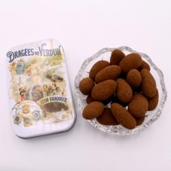 """Léontine cacao, mini-Boîte métal """"Affiche"""" 50 g - Dragées Braquier, confiseur chocolatier à Verdun"""