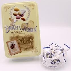 """Flowpack Léontine, """"Braquier Poster"""" metal-box 65 pieces - Dragées Braquier, confiseur chocolatier à Verdun"""