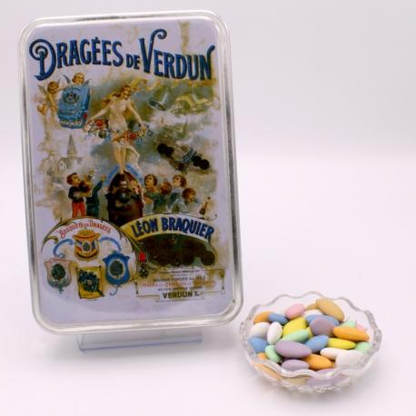 """Marquise, Boîte métal """"Affiche"""" 400 g - Dragées Braquier, confiseur chocolatier à Verdun"""