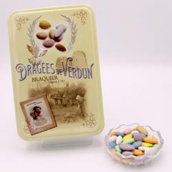 """Marquise, Boîte métal """"Amour et Gourmandises"""" 400 g - Dragées Braquier, confiseur chocolatier à Verdun"""
