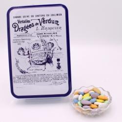 """Marquise, Boîte métal """"Certifiées Braquier"""" 400 g - Dragées Braquier, confiseur chocolatier à Verdun"""