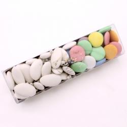 Réglette n°23 - Léon Braquier blanche, Disque chocolat et perle argent - Dragées Braquier, confiseur chocolatier à Verdun