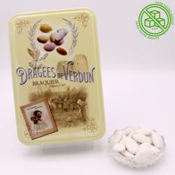 """Duchesse sans sucre ajouté, Boîte métal """"Amour et Gourmandises"""" 400 g - Dragées Braquier, confiseur chocolatier à Verdun"""