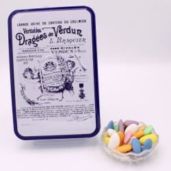 """Duchesse, Boîte métal """"Certifiées Braquier"""" 400 g - Dragées Braquier, confiseur chocolatier à Verdun"""