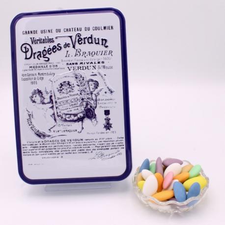 """Princesse, Boîte métal """"Certifiées Braquier"""" 400 g - Dragées Braquier, confiseur chocolatier à Verdun"""