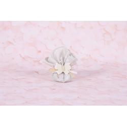 Fleur rose/taupe sur tulle - Boîtes à dragées - Dragées Braquier