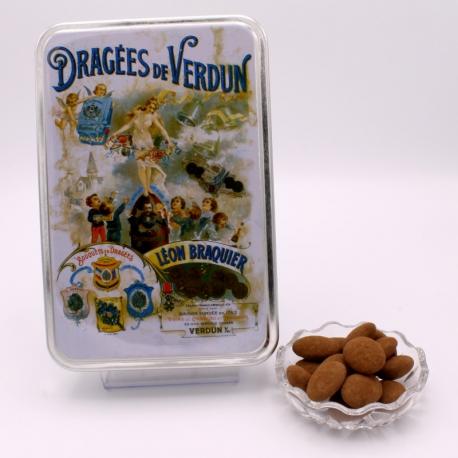 """Gâtine de Braquier, Boîte métal """"Affiche"""" 400 g - Dragées Braquier, confiseur chocolatier à Verdun"""