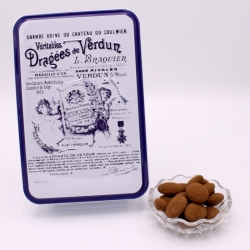 """Gâtine de Braquier, Boîte métal """"Certifiées Braquier"""" 400 g - Dragées Braquier, confiseur chocolatier à Verdun"""