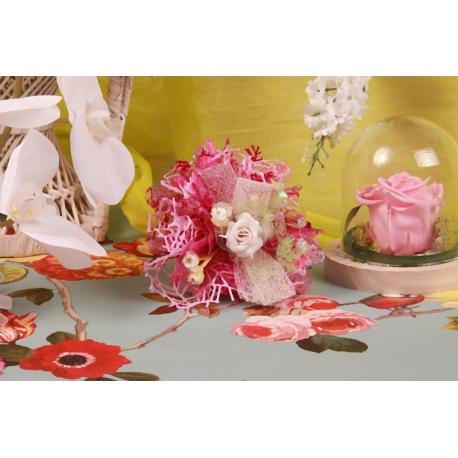 Piquet rose sur tulle fuchsia