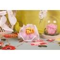 Bouquet jaune sur tulle rose
