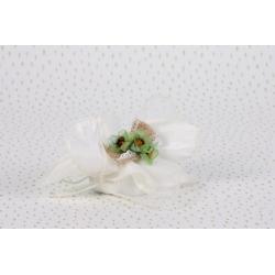 Fleurs vertes sur tulle écru - Boîtes à dragées - Dragées Braquier