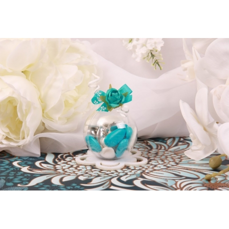 Fleur bleu turquoise sur boule