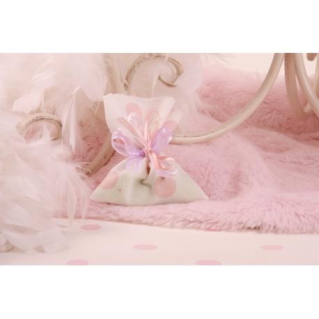 Pochon blanc à pois roses, ruban lilas