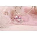 Perles blanches sur boule mauve