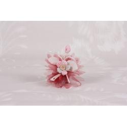 Fleur taupe et rose sur tulle - Boîtes à dragées - Dragées Braquier