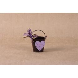 Coeur en bois sur seau marron - Boîtes à dragées - Dragées Braquier