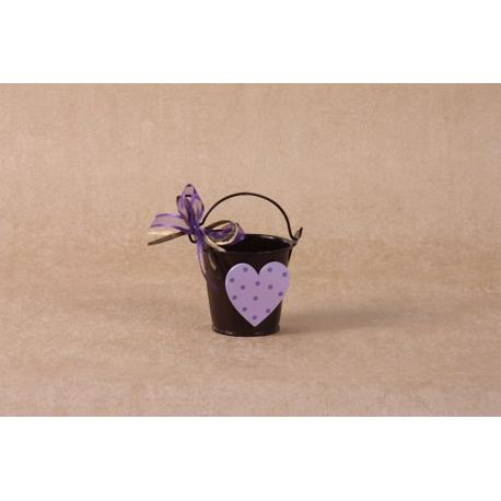 Cœur en bois sur seau marron - Boîtes à dragées - Dragées Braquier