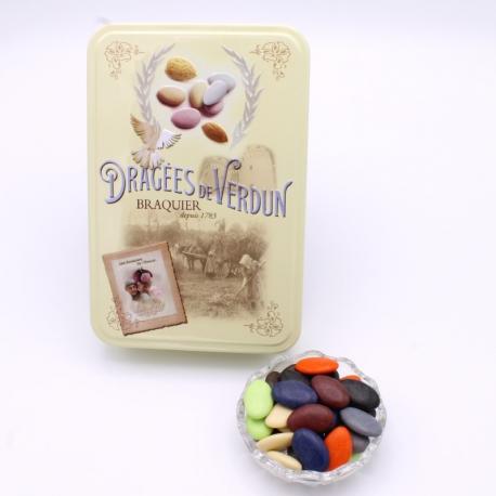 """Arc-en-Ciel, Boîte métal """"Amour et Gourmandises"""" 400 g - Dragées Braquier, confiseur chocolatier à Verdun"""