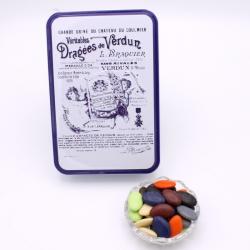 """Arc-en-Ciel, Boîte métal """"Certifiées Braquier"""" 400 g - Dragées Braquier, confiseur chocolatier à Verdun"""
