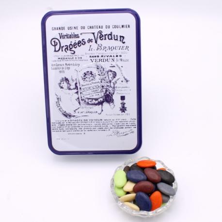 """Arc-en-Ciel, """"Braquier Certified"""" metal-box 400 g - Dragées Braquier, confiseur chocolatier à Verdun"""
