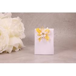 Pochon blanc fleur blanche