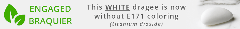 This WHITE dragee is now without E171 colouring (titanuim dioxide)